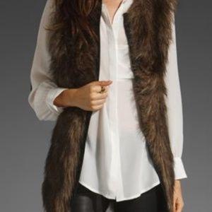 Sanctuary Clothing Brown Fur Vest Women's Size Med